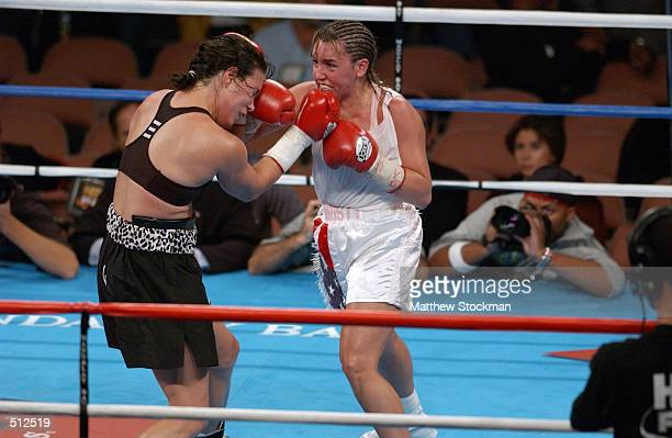 Christy Martin attcks Lisa Holewyne during the women's pound for pound championship fight at the Mandalay Bay Resort Casino in Las Vegas Nevada...