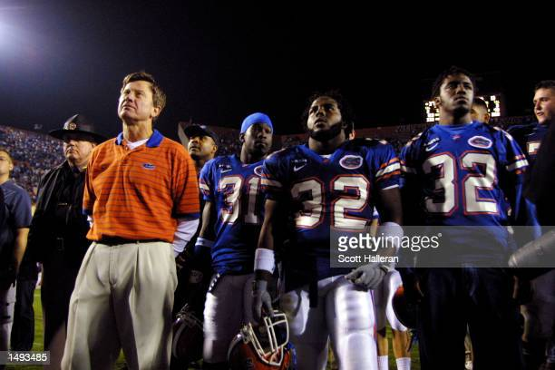 Coach Steve Spurrier stands with Florida Gator players after beating Florida State 3713 at Florida Field in Gainesville Florida DIGITAL IMAGE...