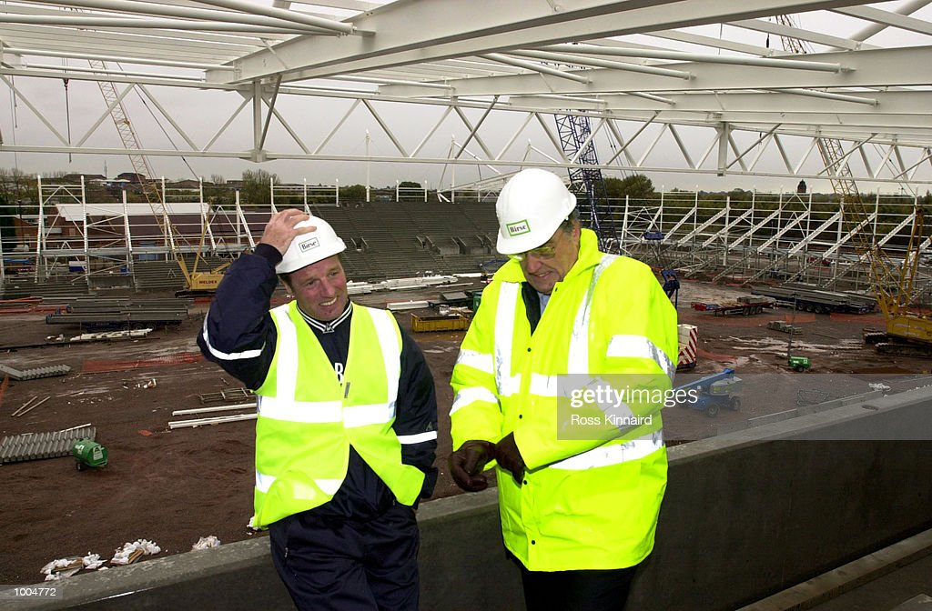 Dave Bassettm the manager of Leicester Citym with the Club Chairman John Elsom during a visit to the site of the new stadium which will be ready for the start of the 2002 season. DIGITAL IMAGE. Mandatory Credit: Ross Kinnaird/ALLSPORT