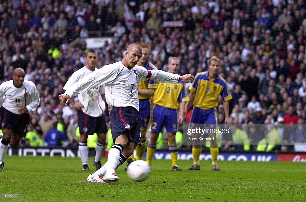 David Beckham of England scores the first goal with a penalty during the England v Sweden International friendly at Old Trafford, Manchester. DIGITAL IMAGE Mandatory Credit: Ross Kinnaird/ALLSPORT