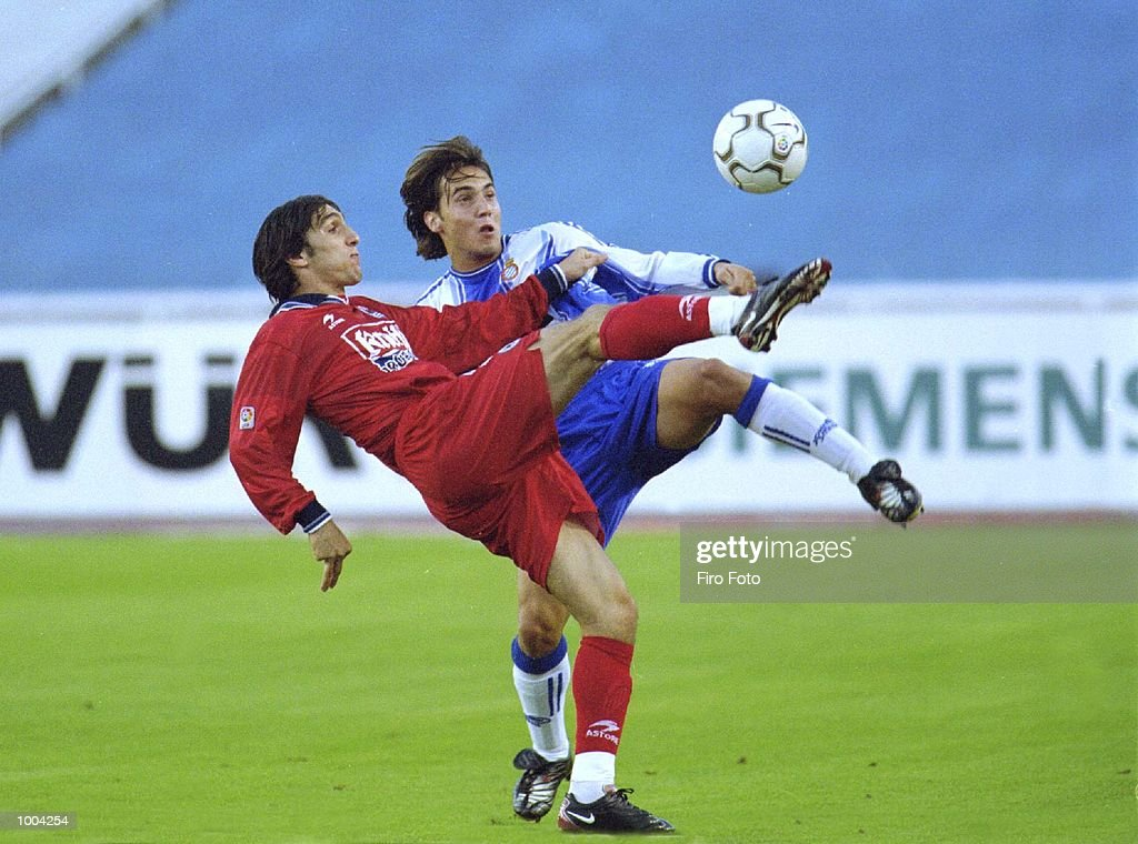David Garcia of Espanyol and Korkut Tayfun of Real Sociedad in action during the Primera liga match between Espanyol and Real Sociedad, played in the Stade Olimpico de Montjuic, Barcelona. DIGITAL IMAGE Mandatory Credit: Firo Foto/ALLSPORT