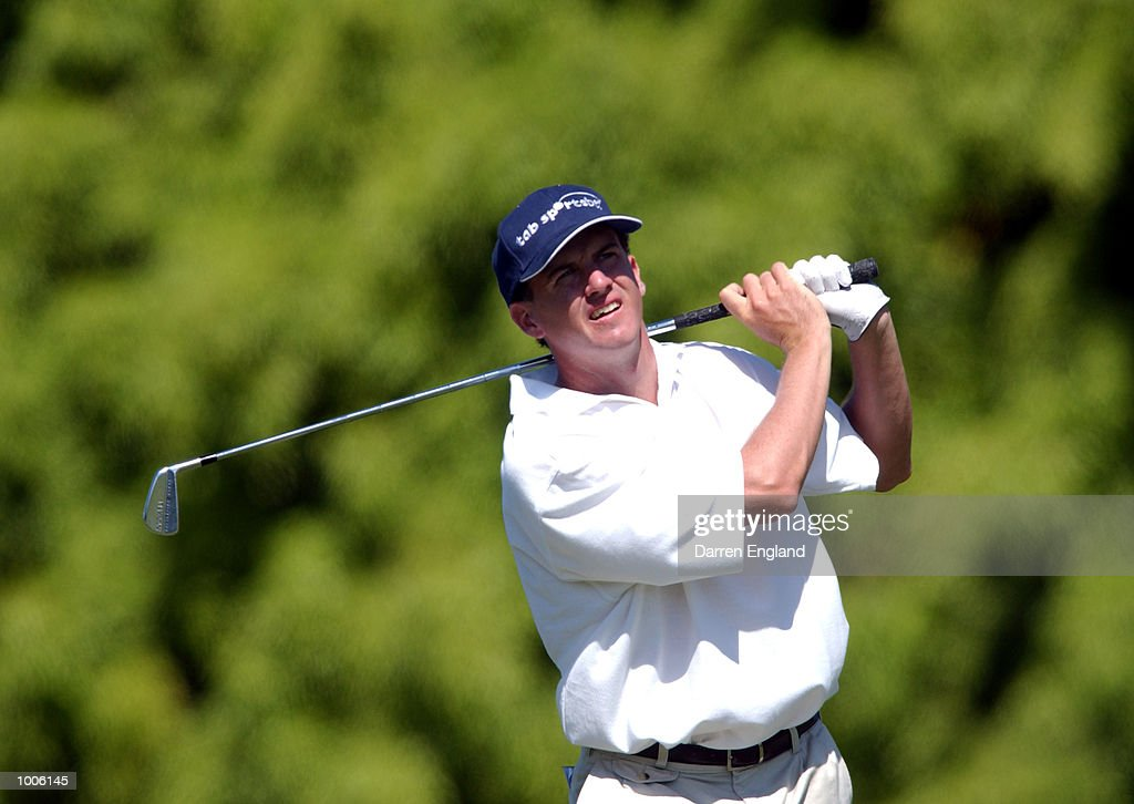 David Gleeson of Australia plays his second shot on the 16th fairway during the third round of the Australian PGA Championship being played at Royal Queensland Golf Club in Brisbane, Australia. He finished his round at nine under par. DIGITAL IMAGE. Mandatory Credit: Darren England/ALLSPORT