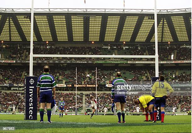 Debutant Charlie Hodgson of England scores a penalty kick during the Rugby Union International match against Romania played at Twickenham in London...