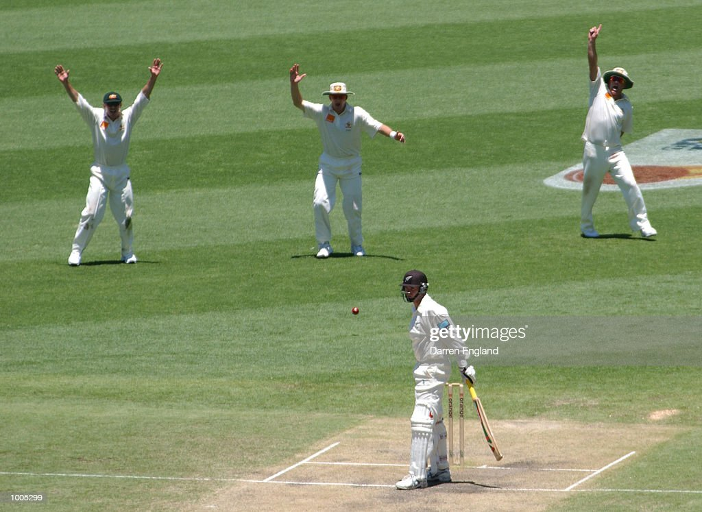 Dion Nash of New Zealand survives an LBW appeal by Australia during day five of the first Cricket test between Australia and New Zealand played at the Gabba in Brisbane, Australia. DIGITAL IMAGE. Mandatory Credit: Darren England/ALLSPORT