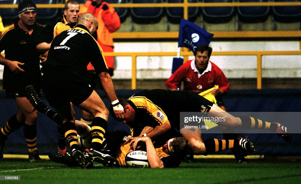 Doddie Weir of Newcastle scores a try during the Zurich Premiership match between London Wasps and Newcastle Falcons at Loftus Road, London. Mandatory Credit: Warren Little/ALLSPORT