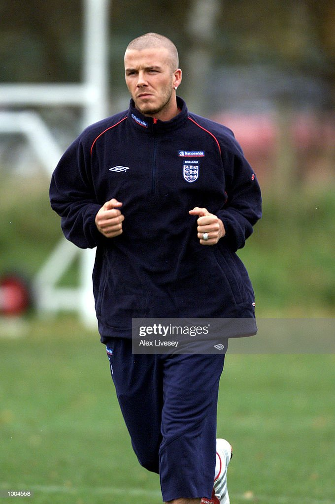 England captain, David Beckham during today's England training session at the Carrington training ground in Carrington, Manchester. DIGITAL IMAGE. Mandatory Credit: Alex Livesey/ALLSPORT