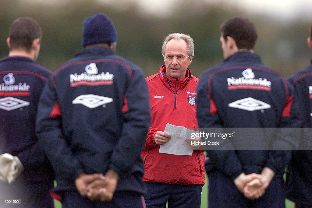 England's coach Sven Goran Eriksson dictates proceedings during England training at Carrington, Manchester. DIGITAL IMAGE. Mandatory Credit: Michael Steele/ALLSPORT