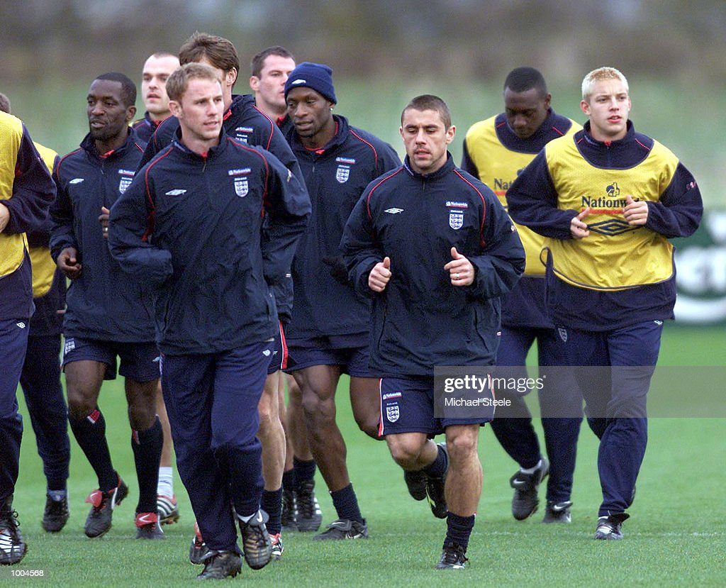 England's Kevin Phillips and Nicky Butt during England training at Carrington, Manchester. DIGITAL IMAGE. Mandatory Credit: Michael Steele/ALLSPORT