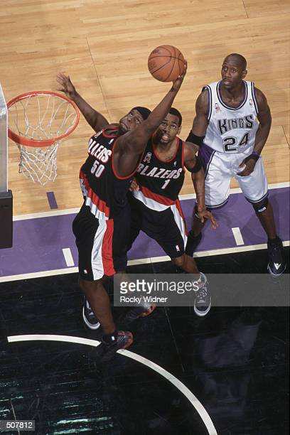 Forward Zach Randolph of the Portland Trail Blazers grabs a rebound during the NBA game against the Sacramneto Kings at Arco Arena in Sacramento...