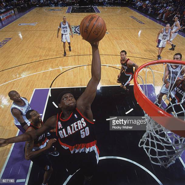 Forward Zach Randolph of the Portland Trail Blazers shoots a hook shot during the NBA game against the Sacramento Kings at Arco Arena in Sacramento...