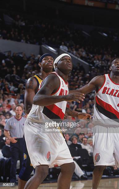 Forward Zach Randolph of the Portland Trail Blazers watches the ball during the NBA game against the Indiana Pacers at the Rose Garden in Portland...