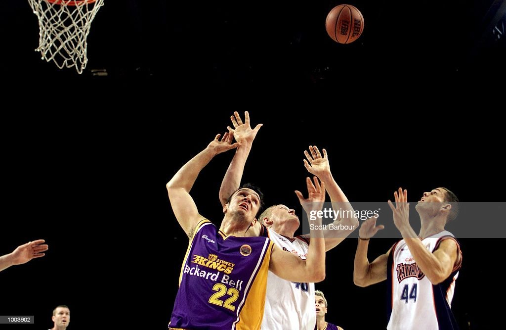 Frank Drmic #22 of the Kings battles with the opposition for a rebound during the Sydney Kings v Cairns Taipans match held at the Sydney Superdome in Sydney, Australia. DIGITAL IMAGE. Mandatory Credit: Scott Barbour/ALLSPORT