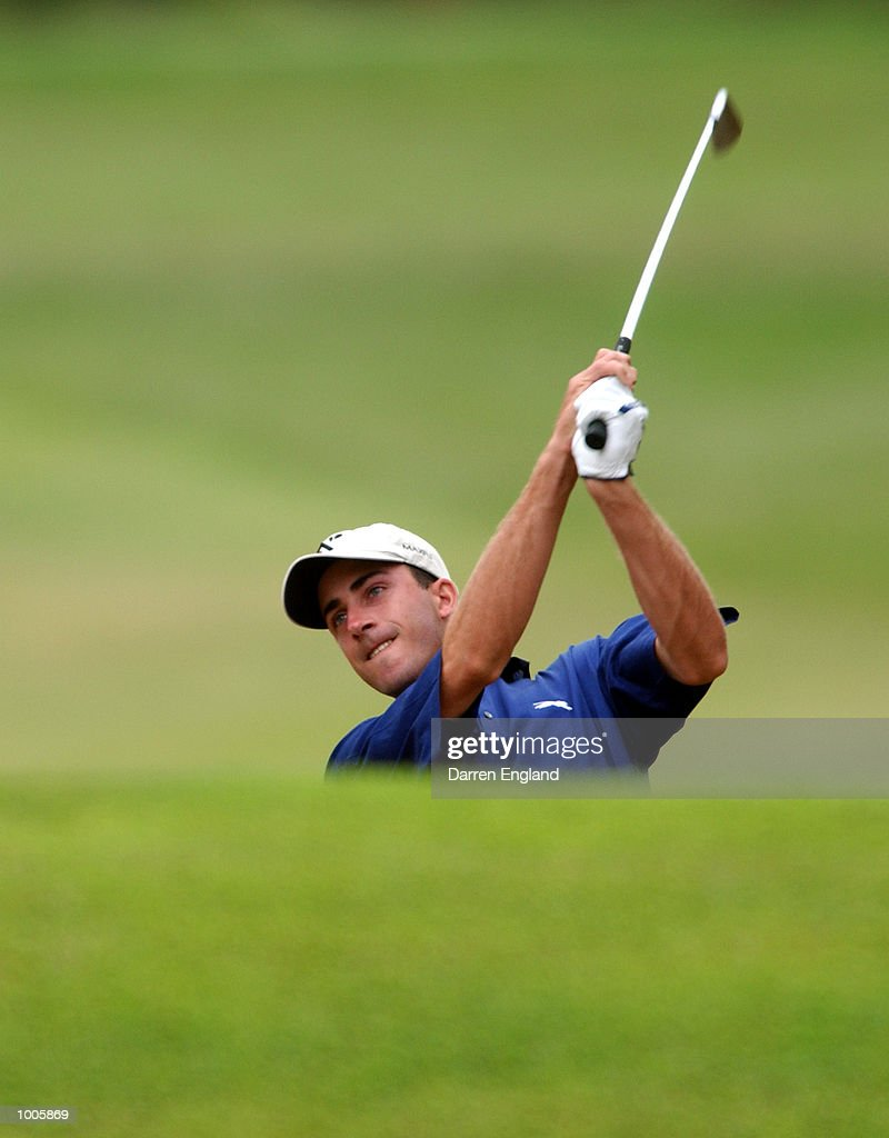 Geoff Ogilvy of Australia plays his second shot on the 15th during the first round of the Australian PGA Championship being played at Royal Queensland Golf Club in Brisbane, Australia. He finished his round at one under par. DIGITAL IMAGE.Mandatory Credit: Darren England/ALLSPORT