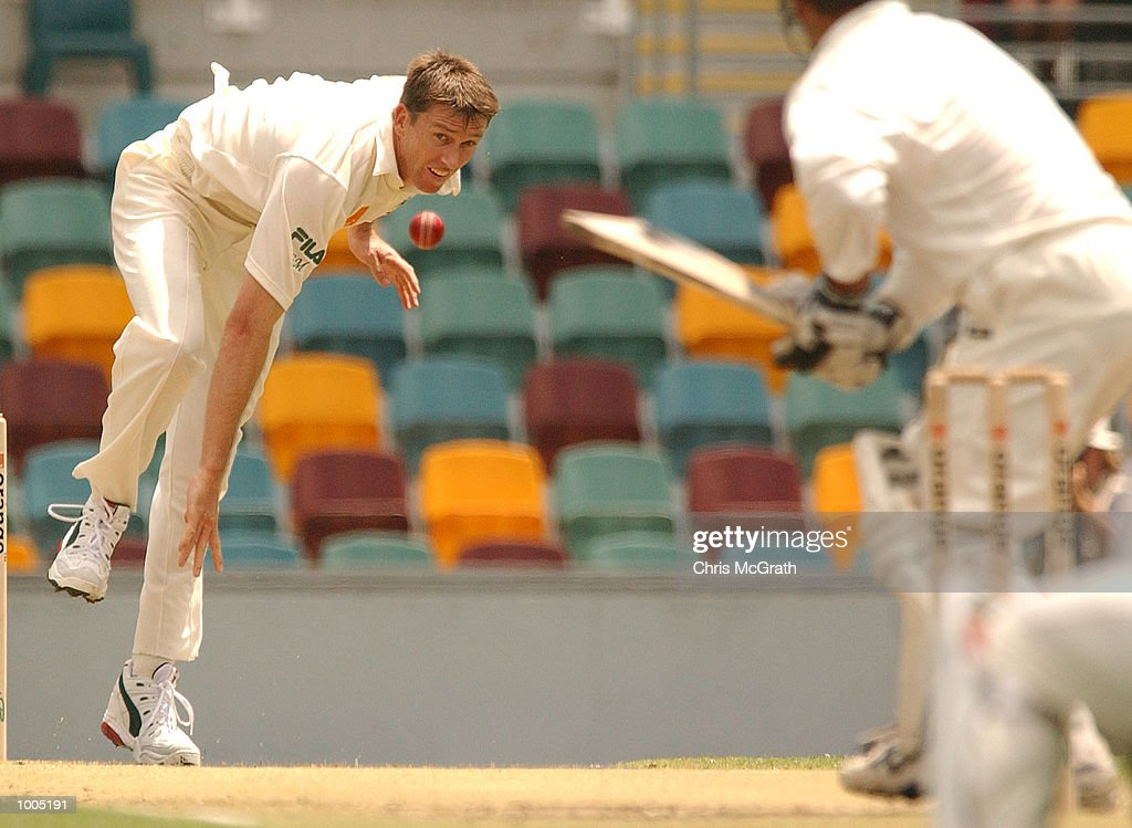 Glenn McGrath of Australia in action during day four of the first cricket test between Australia and New Zealand held at the Gabba, Brisbane, Australia, DIGITAL IMAGE Mandatory Credit: Chris McGrath/ALLSPORT