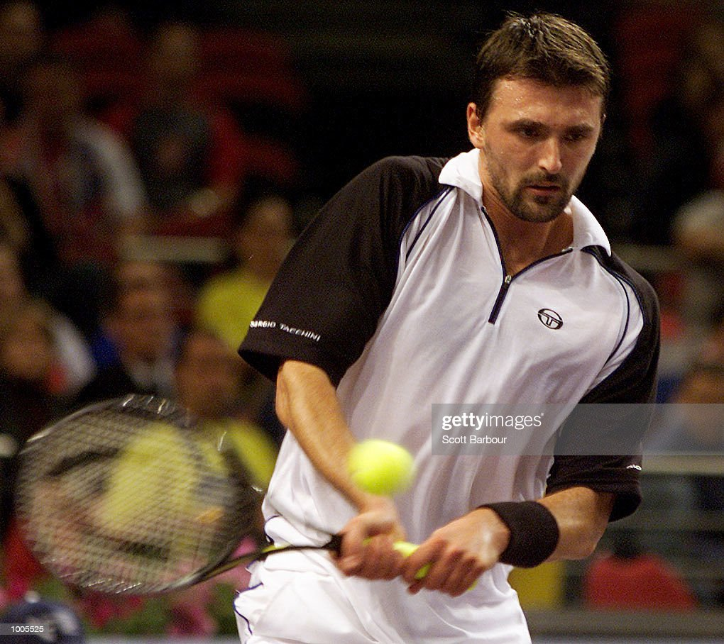Goran Ivanisevic of Croatia in action during his match against Gustavo Kuerten of Brazil during day two of the Tennis Masters Cup held at the Sydney Superdome in Sydney, Australia. DIGITAL IMAGE. Mandatory Credit: Scott Barbour/ALLSPORT