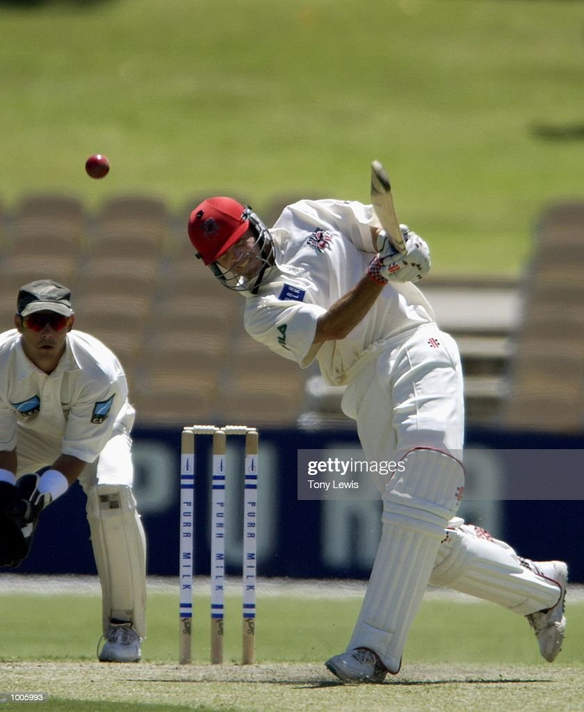 Greg Blewett of South Australia drives New Zealand bowler Darryl Tuffey in the match between South Australia and New Zealand played at the Adelaide Oval in Adelaide, Australia. DIGITAL IMAGE Mandatory Credit: Tony Lewis/ALLSPORT