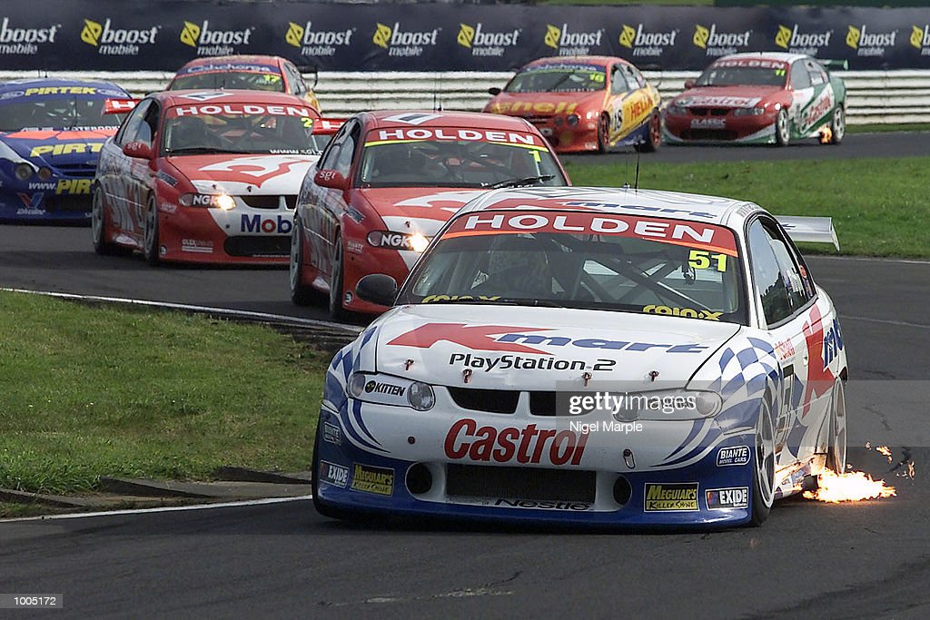 Greg Murphy #51 in action as he leads Mark Skaife #1 after the safety car pulled all cars together during round 12 of the Shell championship series at Pukekohe Park Raceway, south of Auckland, New Zealand. Murphy won all 3 races this weekend to be the outright round 12 winner. Mandatory Credit: Nigel Marple/ALLSPORT