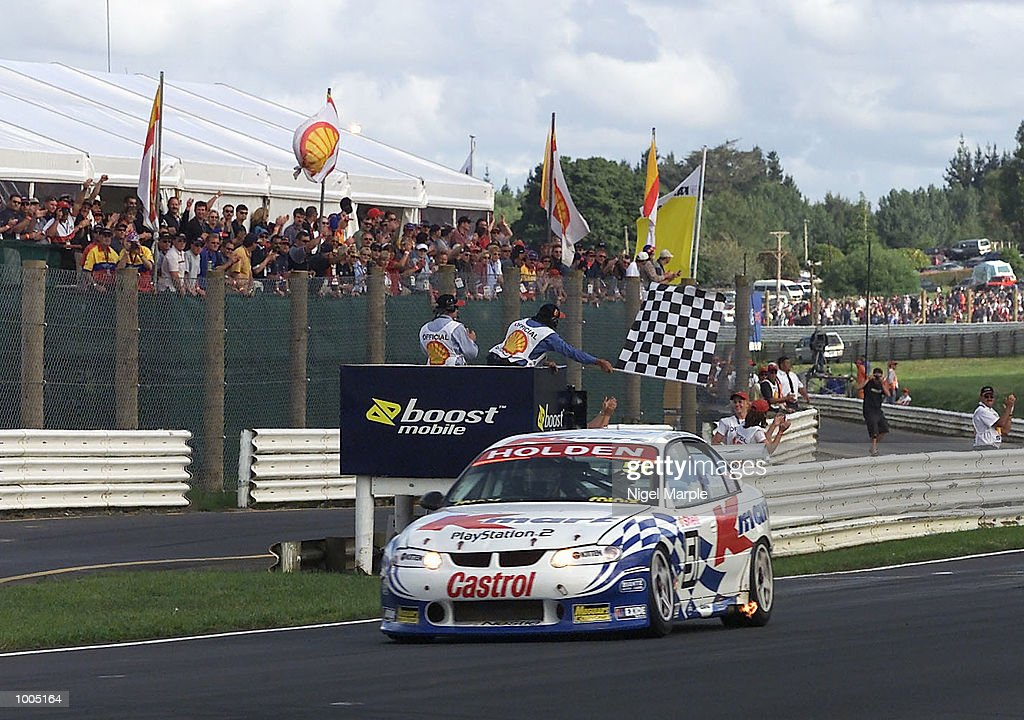 Greg Murphy #51 passes the chequered flag to win race 3 during round 12 of the Shell championship series at Pukekohe Park Raceway, south of Auckland, New Zealand. Murphy won all 3 races this weekend to be the outright round 12 winner. Mandatory Credit: Nigel Marple/ALLSPORT