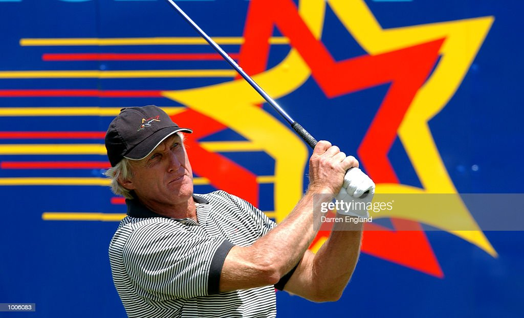 Greg Norman of Australia tees off on the 18th tee during the third round of the Australian PGA Championship being played at Royal Queensland Golf Club in Brisbane, Australia. He finished the day at 3 under par. DIGITAL IMAGE. Mandatory Credit: Darren England/ALLSPORT