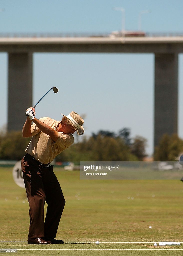 Greg Norman practices on the driving range prior to the Australian PGA Championship Tournament held at the Royal Queensland Golf Course, Brisbane, Australia. DIGITAL IMAGE Mandatory Credit: Chris McGrath/ALLSPORT