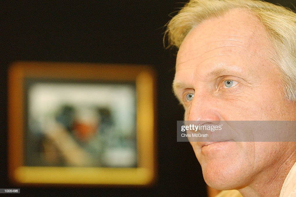Greg Norman speaks to the media during a press conference discussing his induction to the World Golf Hall of Fame prior the Australian PGA Championship Tournament. The press conference was held at the Royal Queensland Golf Club, Brisbane, Australia. DIGITAL IMAGE Mandatory Credit: Chris McGrath/ALLSPORT