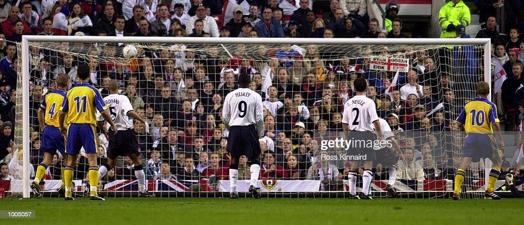 Hakan Mild of Sweden scores the equalising goal during the England v Sweden International friendly at Old Trafford, Manchester. DIGITAL IMAGE Mandatory Credit: Ross Kinnaird/ALLSPORT