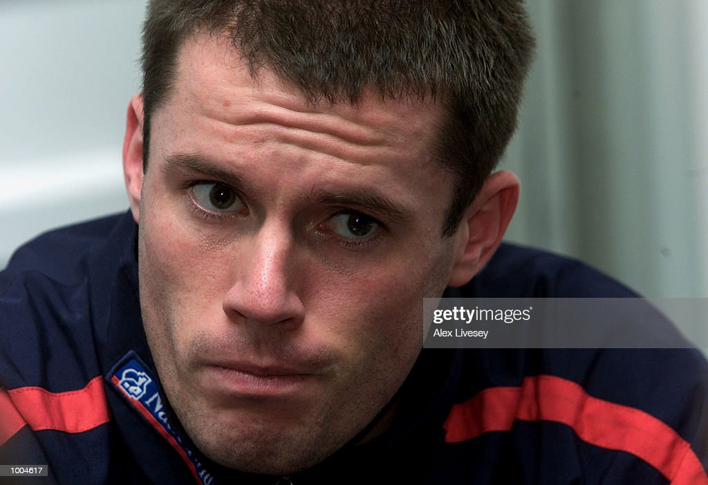 Jamie Carragher during today's England press conference at the Marriott Hotel in Worsley, Manchester. DIGITAL IMAGE. Mandatory Credit: Alex Livesey/ALLSPORT