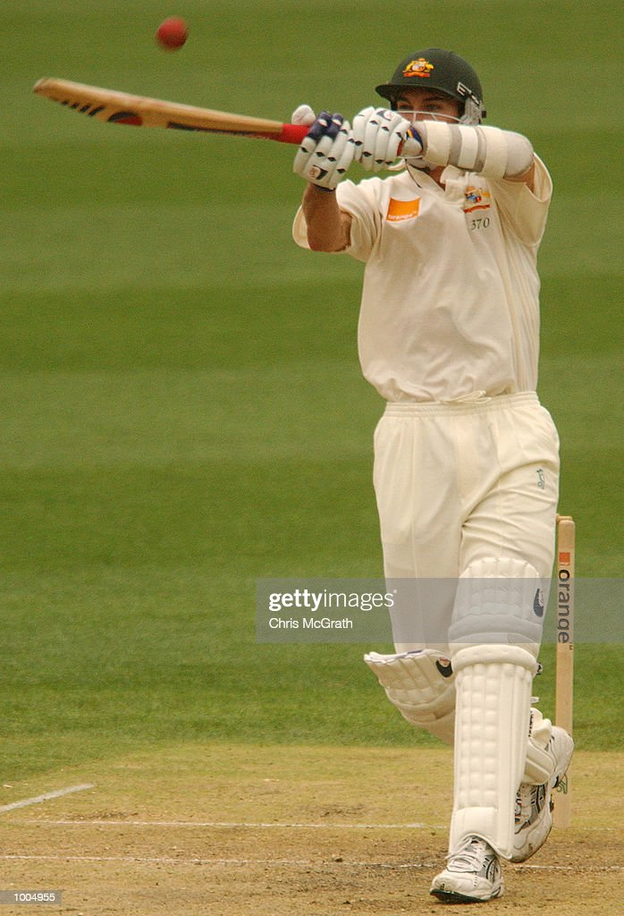 Jason Gillespie in action during day three of the first cricket test between Australia and New Zealand held at the Gabba, Brisbane, Australia, DIGITAL IMAGE Mandatory Credit: Chris McGrath/ALLSPORT