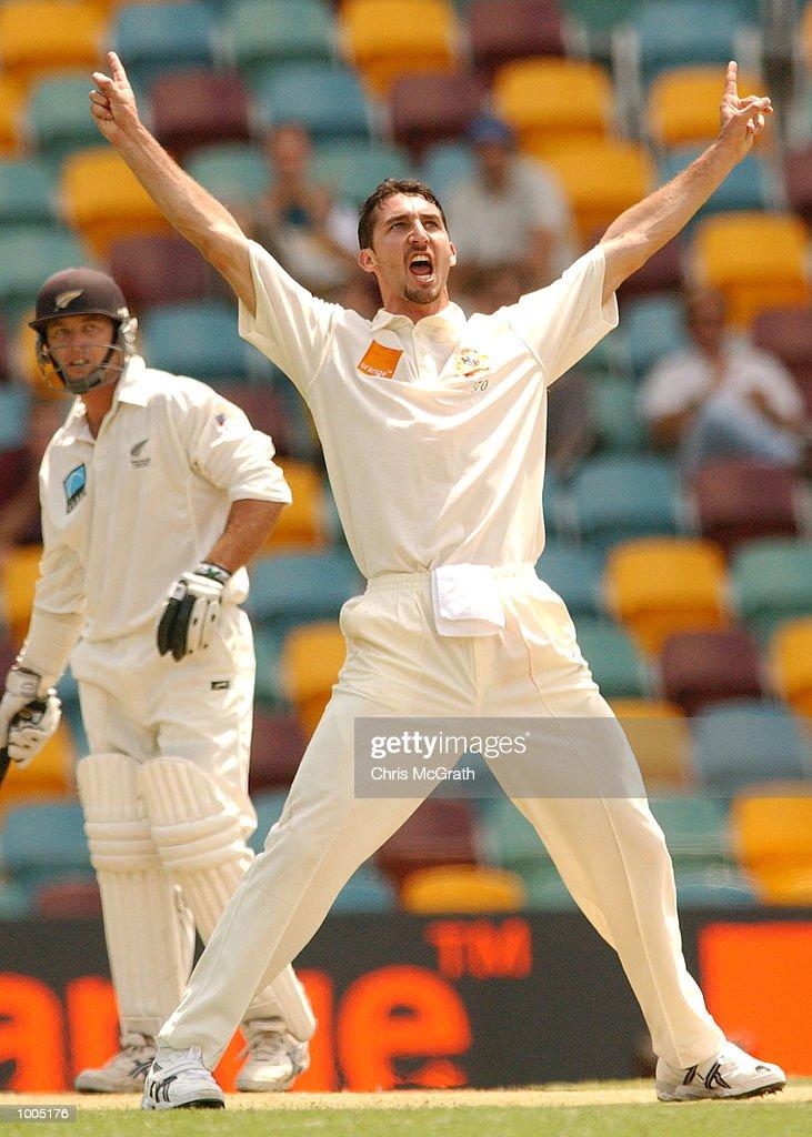 Jason Gillespie of Australia celebrates after claiming the wicket of Mark Richardson of New Zealand during day four of the first cricket test between Australia and New Zealand held at the Gabba, Brisbane, Australia, DIGITAL IMAGE MandatoryCredit: Chris McGrath/ALLSPORT