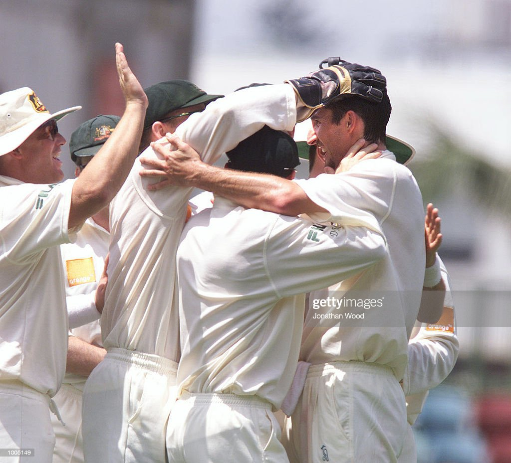 Jason Gillespie of Australia celebrates the wicket of Stephen Fleming of New Zealand during the fourth day of play in the first Test between Australia and New Zealand being played at the Gabba, Brisbane, Australia. DIGITAL IMAGE. MandatoryCredit: Jonathan Wood/ALLSPORT