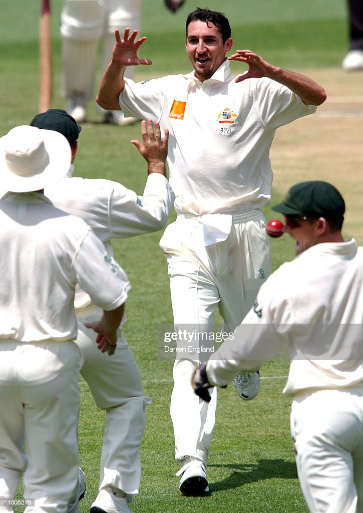 Jason Gillespie of Australia celebrates the wicket of Stephen Fleming of New Zealand for 0 runs during day four of the first Cricket test between Australia and New Zealand played at the Gabba in Brisbane, Australia. DIGITAL IMAGE. MandatoryCredit: Darren England/ALLSPORT