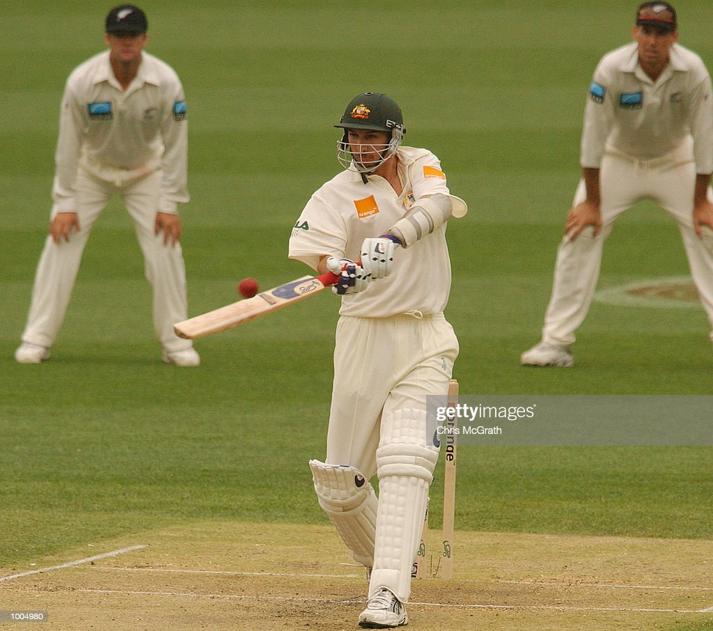 Jason Gillespie of Australia in action during day three of the first cricket test between Australia and New Zealand held at the Gabba, Brisbane, Australia, DIGITAL IMAGE Mandatory Credit: Chris McGrath/ALLSPORT