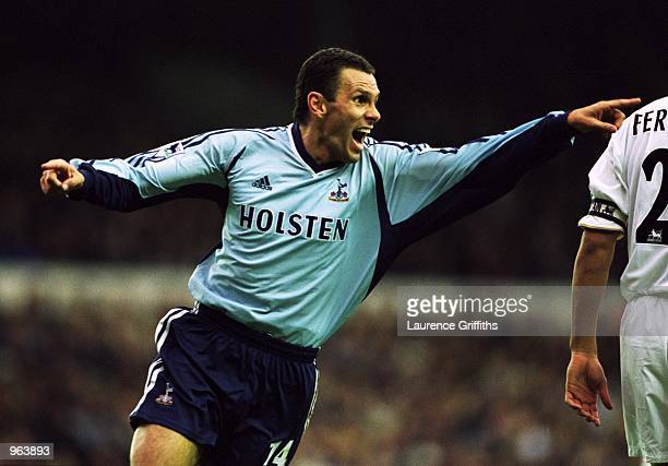 Joy for goalscorer Gustavo Poyet of Spurs during the FA Barclaycard Premiership match between Leeds United and Tottenham Hotspur played at Elland...