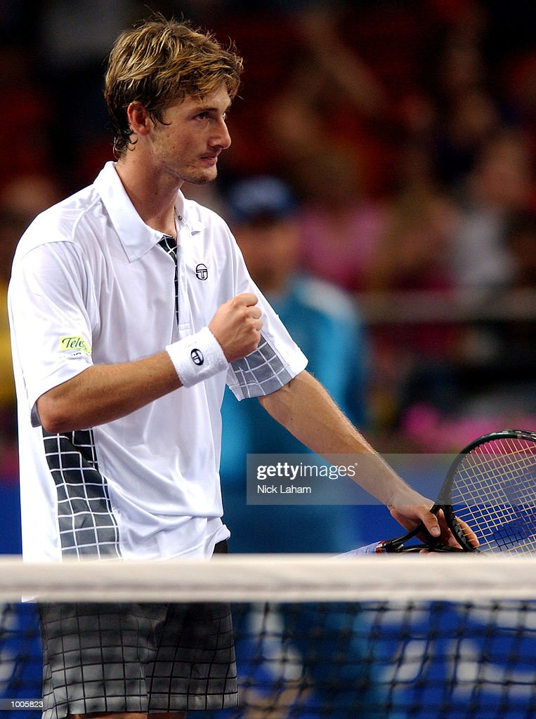 Juan Carlos Ferrero of Spain celebrates his win over Gustavo Kuerten of Brazil during the Tennis Masters Cup held at the Sydney Superdome, Sydney, Australia. DIGITAL IMAGE Mandatory Credit: Nick Laham/ALLSPORT