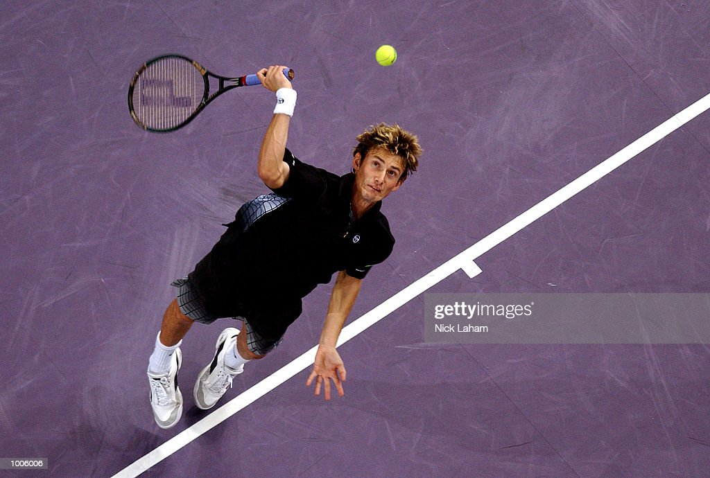Juan Carlos Ferrero of Spain in action during his match against Goran Ivanisevic of Croatia during the Tennis Masters Cup held at the Sydney Superdome, Sydney, Australia. DIGITAL IMAGE Mandatory Credit: Nick Laham/ALLSPORT