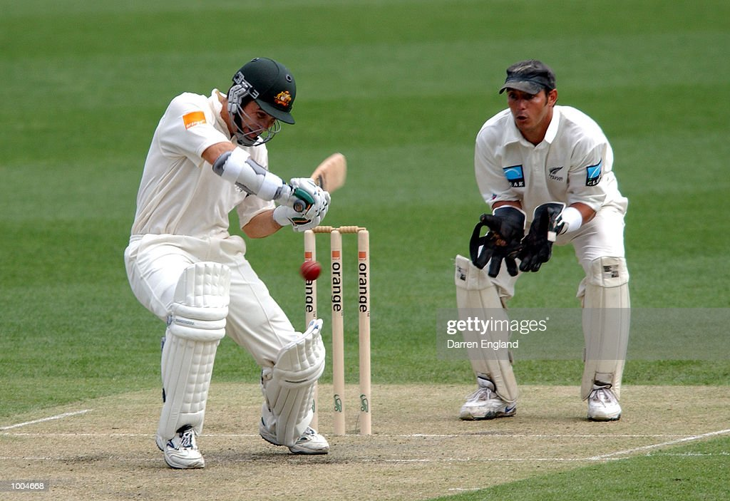 Justin Langer of Australia hits four runs against New Zealand during day one of the first Cricket test between Australia and New Zealand played at the Gabba in Brisbane, Australia. DIGITAL IMAGE. Mandatory Credit: Darren England/ALLSPORT
