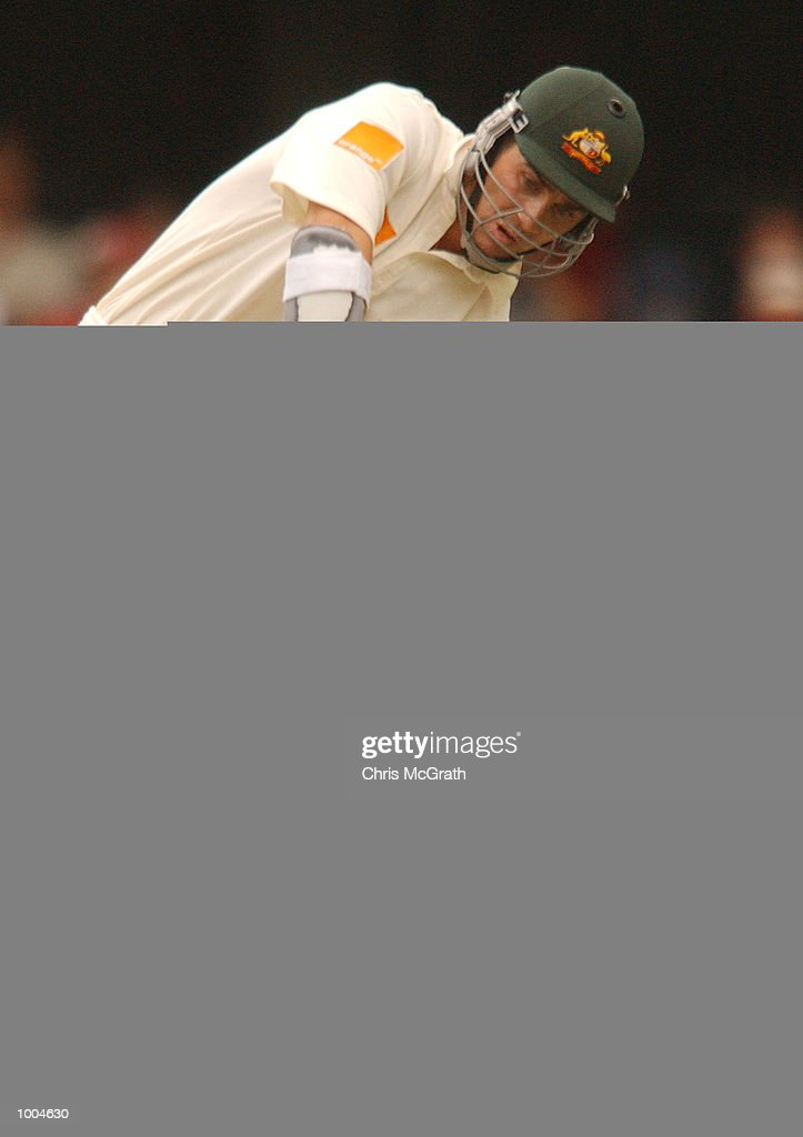 Justin Langer of Australia in action during day one of the first cricket test between Australia and New Zealand held at the Gabba, Brisbane, Australia, DIGITAL IMAGE Mandatory Credit: Chris McGrath/ALLSPORT
