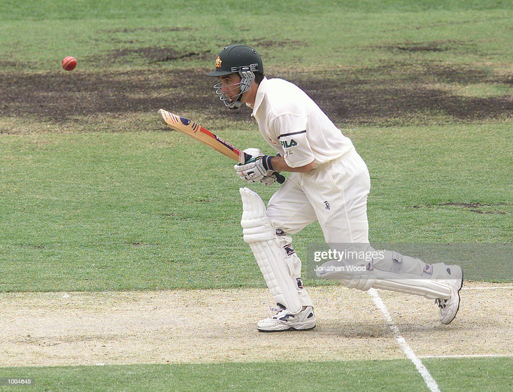Justin Langer of Australia in action during the first day of the first Test between Australia and New Zealand played at the Gabba, Brisbane, Australia. DIGITAL IMAGE. Mandatory Credit: Jonathan Wood/ALLSPORT