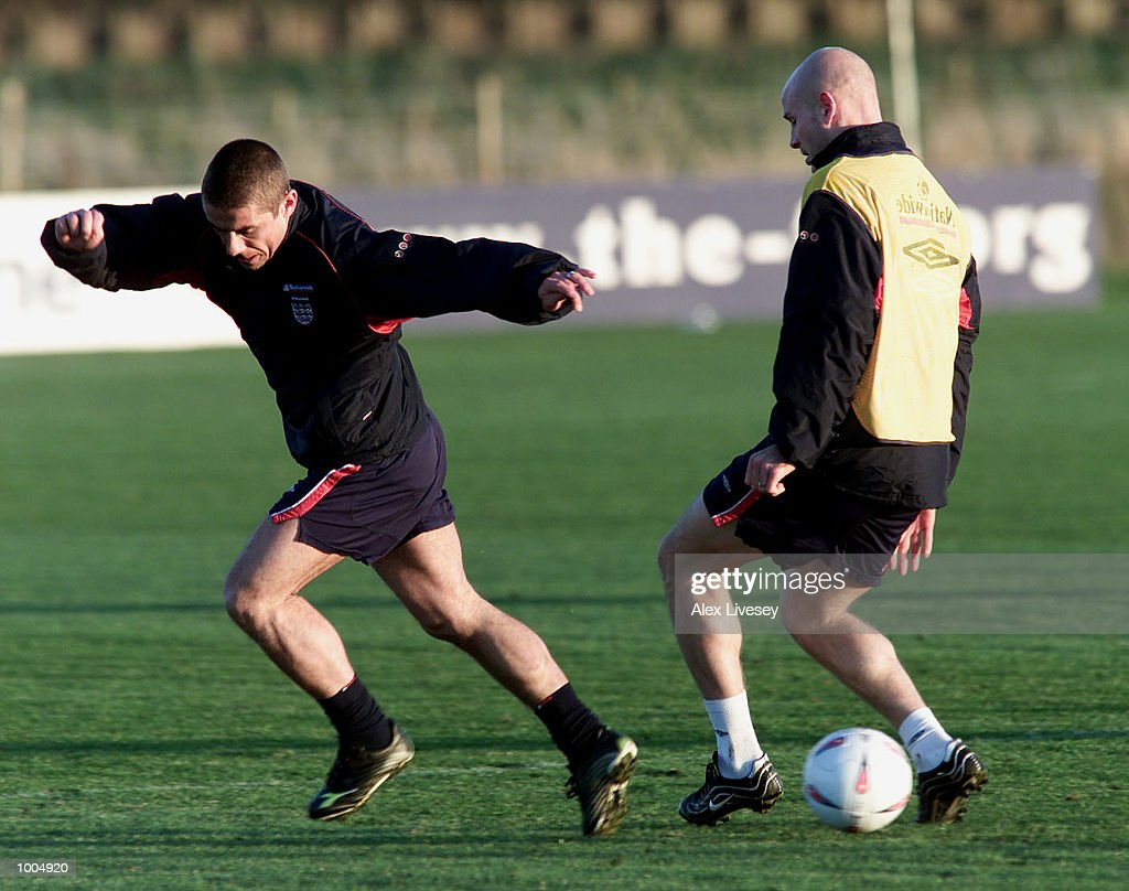 Kevin Phillips and Danny Mills during today's England training session at the Carrington Training ground in Carrrington, Manchester. DIGITAL IMAGE. Mandatory Credit: Alex Livesey/ALLSPORT