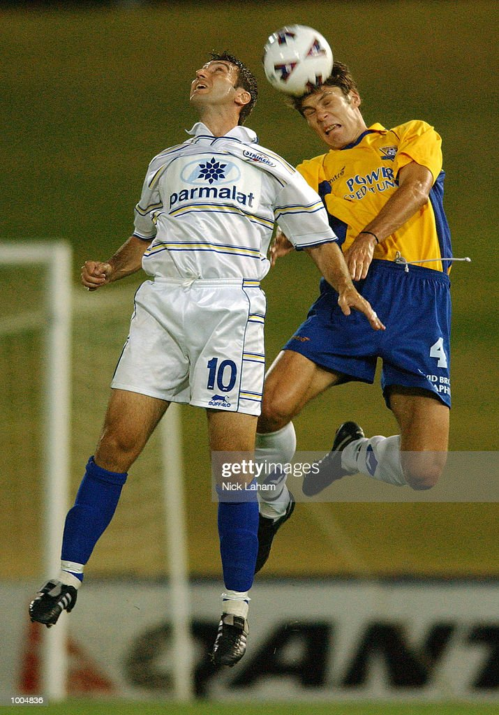 Kris Trajanovski #10 of the Strikers and Nick Orlic #4 of the Power in action during the NSL match between the Parramatta Power and the Brisbane Strikers held at Parramatta Stadium, Sytdney, Australia. DIGITAL IMAGE Mandatory Credit: Nick Laham/ALLSPORT