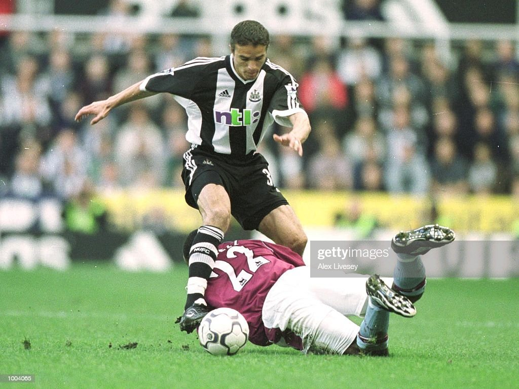 Laurent Robert of Newcastle skips over Darius Vassell of Villa during the match between Newcastle United and Aston Villa in the FA Barclaycard Premiership at St James Park, Newcastle. Mandatory Credit: Alex Livesey/ALLSPORT