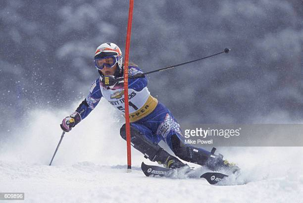 Lindsay Kildow of the United States skis around a red gate during the women's slalom event at the 2001 Ski World Cup in Copper Mountain Colorado...