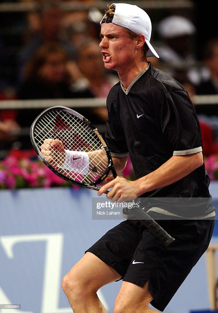 Lleyton Hewitt of Australia celebrates a point against Andre Agassi of the United States during the Tennis Masters Cup held at the Sydney Superdome, Sydney, Australia. DIGITAL IMAGE Mandatory Credit: Nick Laham/ALLSPORT
