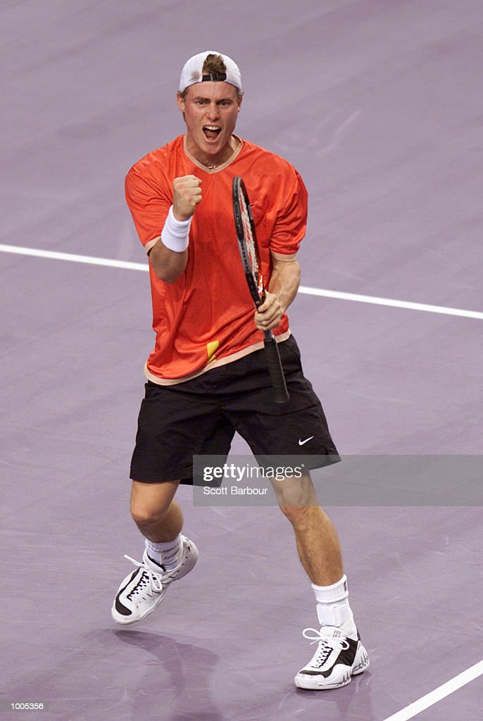 Lleyton Hewitt of Australia celebrates after defeating Sebastien Grosjean of France during day one of the Tennis Masters Cup held at the Sydney Superdome in Sydney, Australia. DIGITAL IMAGE. Mandatory Credit: Scott Barbour/ALLSPORT