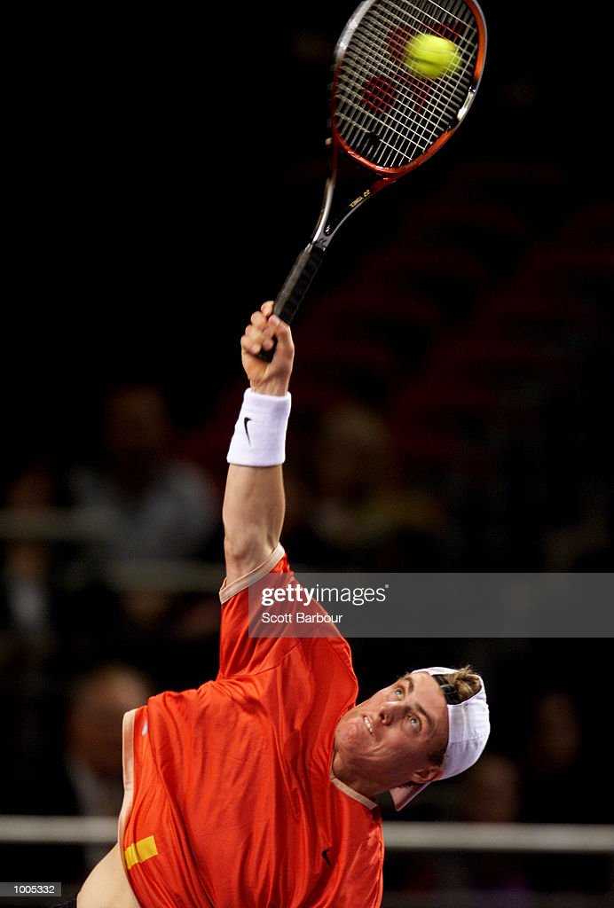 Lleyton Hewitt of Australia in action during his match against Sebastien Grosjean of France during day one of the Tennis Masters Cup held at the Sydney Superdome in Sydney, Australia. DIGITAL IMAGE. Mandatory Credit: Scott Barbour/ALLSPORT