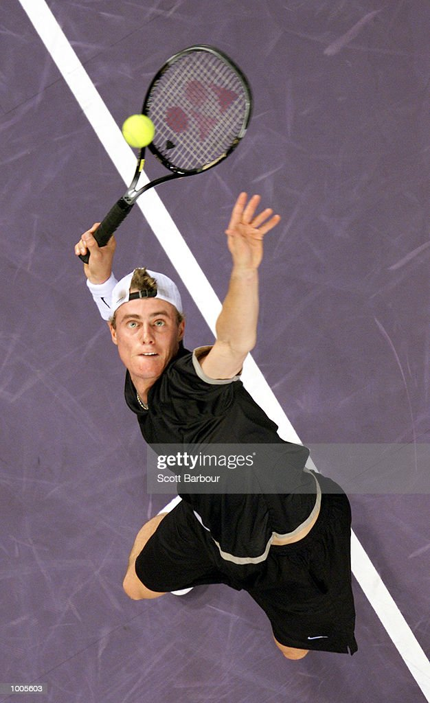 Lleyton Hewitt of Australia in action during his match against Andre Agassi of USA during day three of the Tennis Masters Cup held at the Sydney Superdome in Sydney, Australia. DIGITAL IMAGE. Mandatory Credit: Scott Barbour/ALLSPORT