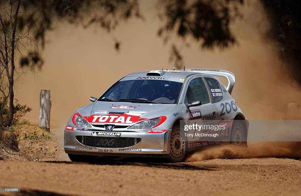 Marcus Gronholm and Timo Rautiainen put their Peugeot 206 WRC to the test on the outback bush tracks around Mundaring during the 18.43 km Special Stage Helena South of Leg 1 of the Telstra Rally Australia at Perth, Australia. DIGITAL IMAGE Mandatory Credit: Tony McDonough/ALLSPORT