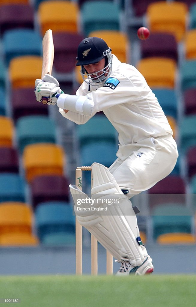 Mathew Sinclair of New Zealand in action during the New Zealand versus Queensland cricket match played at the Gabba in Brisbane, Australia. The match is part of the New Zealand team's tour of Australia. DIGITAL IMAGE. Mandatory Credit: Darren England/ALLSPORT