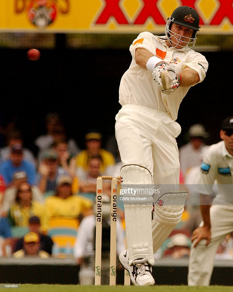 Matthew Hayden of Australia in action during day one of the first cricket test between Australia and New Zealand held at the Gabba, Brisbane, Australia, DIGITAL IMAGE Mandatory Credit: Chris McGrath/ALLSPORT