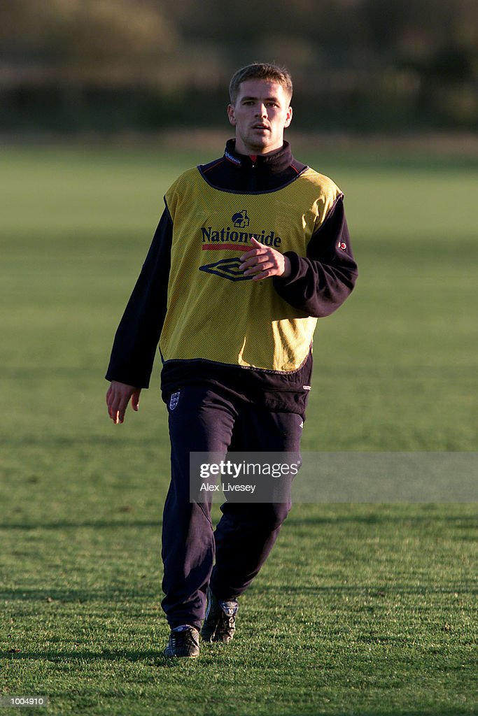 Michael Owen during today's England training session at the Carrington Training ground in Carrrington, Manchester. DIGITAL IMAGE. Mandatory Credit: Alex Livesey/ALLSPORT